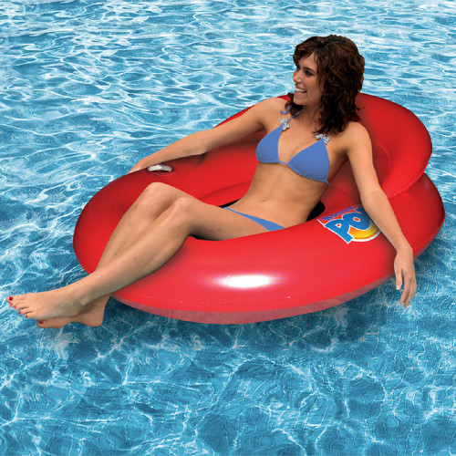 """50"""" Inflatable Red Water Pop Floating Lounger with Black Mesh Seat - IMAGE 1"""