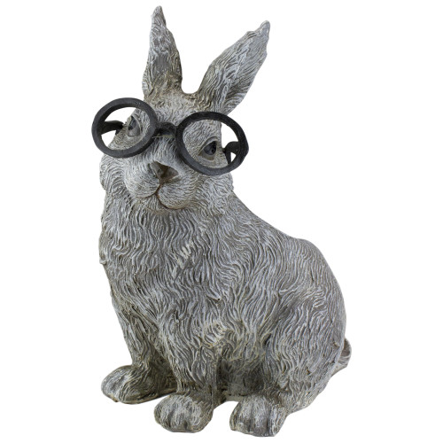 """11.25"""" Gray Silly Bespectacled Bunny Rabbit Spring Patio Garden Planter - IMAGE 1"""
