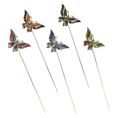 "Set of 18 Assorted Glass Crystal Butterfly Mini Garden Stakes with Display Box 10"" - IMAGE 1"