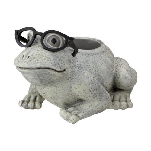 """9.75"""" Gray Silly Bespectacled Frog Spring Outdoor Patio Garden Planter - IMAGE 1"""