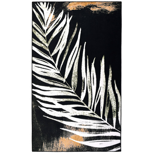 3' x 5' Immersion Black and White Fern Leaf Rectangular Area Throw Rug - IMAGE 1