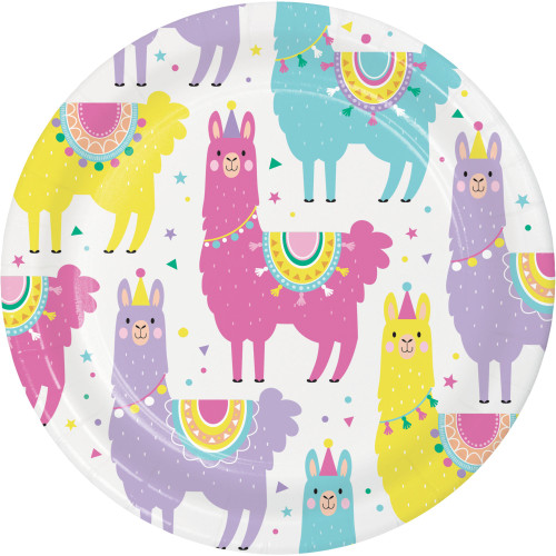 """Club Pack of 96 Pink and White LLAMA Printed Dessert Plates 6.8"""" - IMAGE 1"""