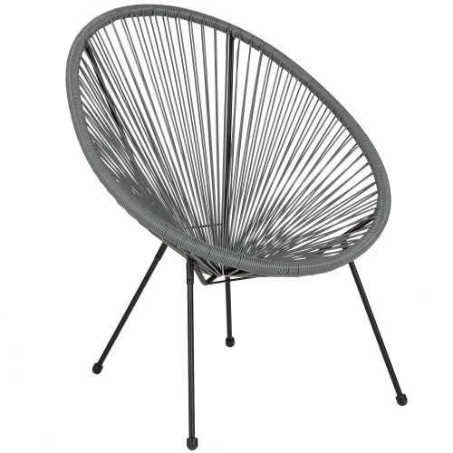 """35.25"""" Gray and Black Oval Outdoor Furniture Patio Bungee Lounge Chair - IMAGE 1"""