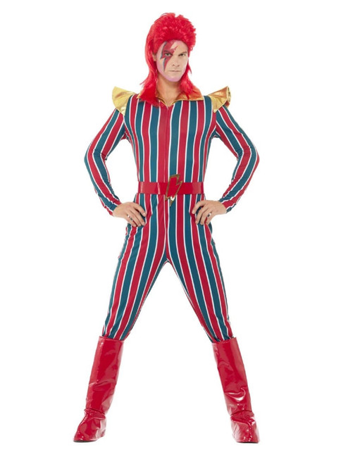 """41"""" Red and Blue Space Superstar Men Adult Halloween Costume - Medium - IMAGE 1"""