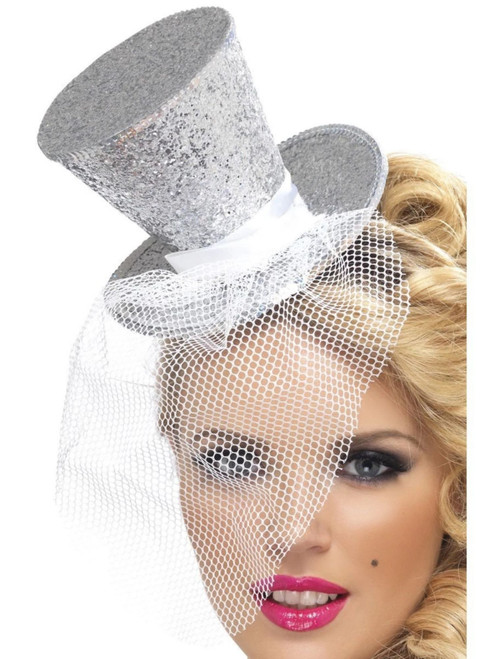 """27"""" Silver Fever Mini Top Women Adult Halloween Hat on Headband Costume Accessory - One Size - IMAGE 1"""