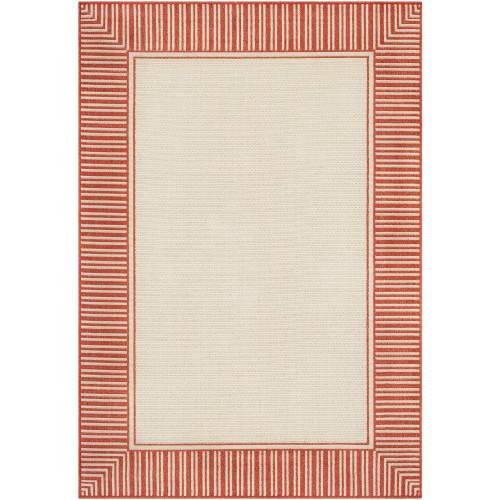 5.25' x 7.5' Burnt Orange and Beige Stripe Border Patterned Rectangular Area Throw Rug - IMAGE 1