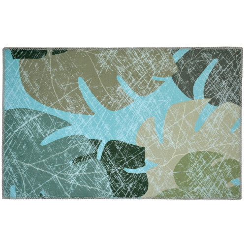 1.8' x 2.8' Faded Tropical Leaves Pale Blue and Green Rectangular Area Throw Rug - IMAGE 1
