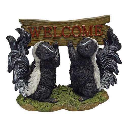 """10.5"""" Duo of Skunks Holding Welcome Sign - IMAGE 1"""