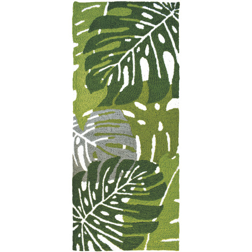 1.75' x 4.5' Monstera Palm Leaves Green and Gray Rectangular Area Throw Rug - IMAGE 1