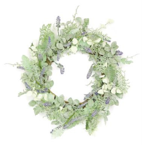 Dusty Millers with Lavenders Artificial Spring Floral Wreath, Green 24-Inch - IMAGE 1