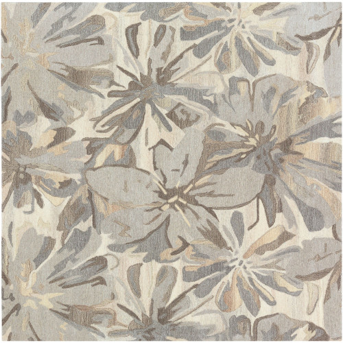 8' Floral Gray and Beige Hand Tufted Square Area Throw Rug - IMAGE 1