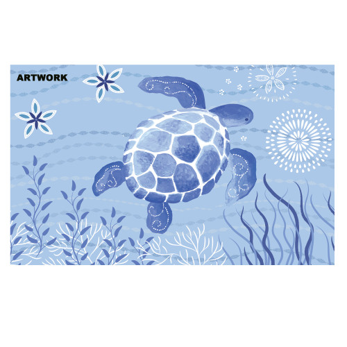 1.6' x 2.5' Navy Blue Turtle Swimming Rectangular Area Throw Rug - IMAGE 1