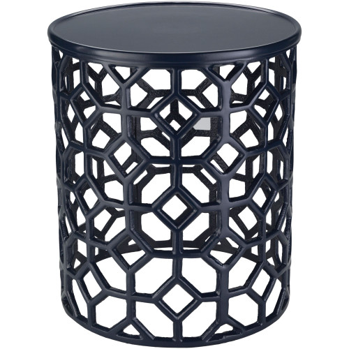 """16.5"""" Transitional Style Navy Blue Round Accent Table - IMAGE 1"""
