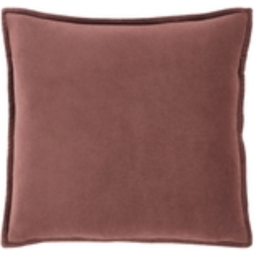 """18"""" Brown Flange Solid Woven Square Throw Pillow - Poly Filled - IMAGE 1"""