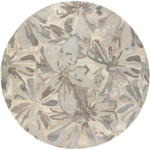 6' Floral Patterned Gray and Beige Hand Tufted Wool Round Area Rug - IMAGE 1