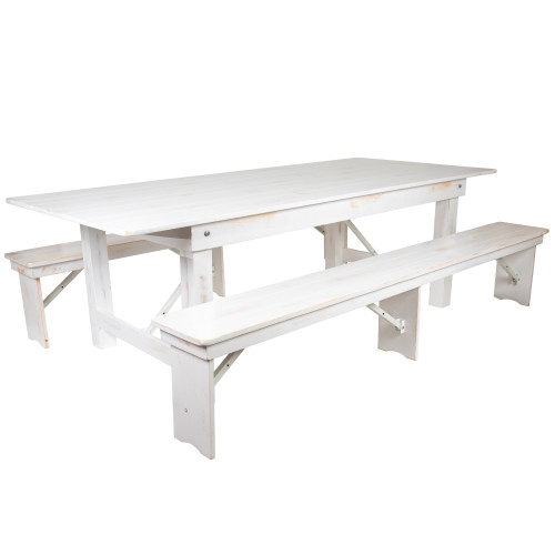 9' Antique Rustic White Folding Farm Table and Two Bench Set - IMAGE 1