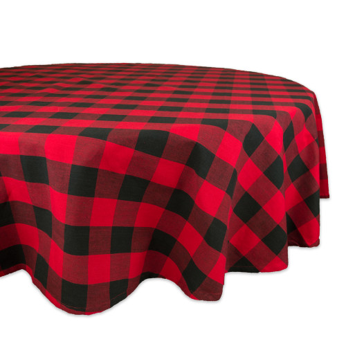 """Red and Black Buffalo Checkered Pattern Round Tablecloth 70"""" - IMAGE 1"""