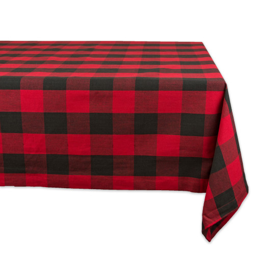 """Red and Black Buffalo Checkered Pattern Rectangular Tablecloth 60"""" x 120"""" - IMAGE 1"""