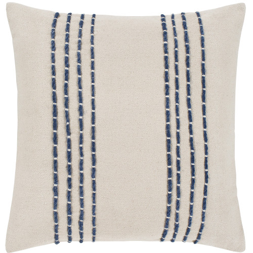 """20"""" Cream and Navy Blue Striped Embroidered Throw Pillow Cover with Knife Edge - IMAGE 1"""
