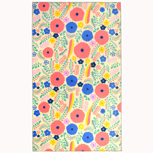 3' x 5' Hippie Chic Pink and Blue Colorful Buds Rectangular Area Throw Rug - IMAGE 1