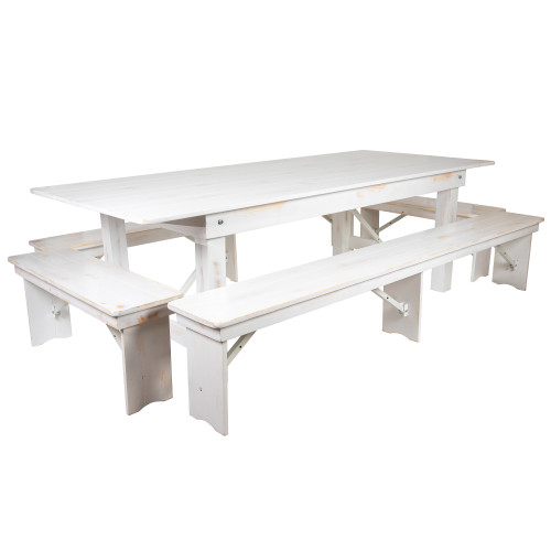 9' Antique Rustic White Folding Farm Table and Four Bench Set - IMAGE 1