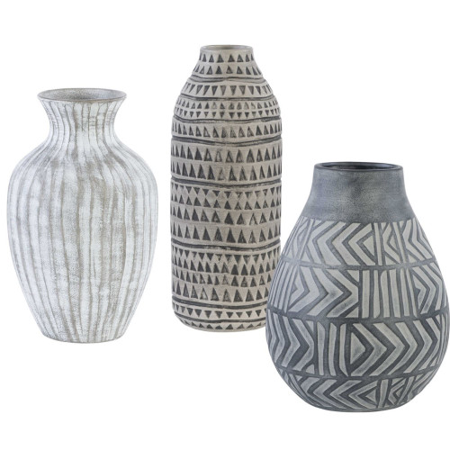 """Set of 3 Charcoal Gray and Natural Beige Geometric Vases 18"""" - IMAGE 1"""