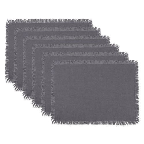 """Set of 6 Gray Solid Heavyweight Fringed Placemats 19"""" - IMAGE 1"""