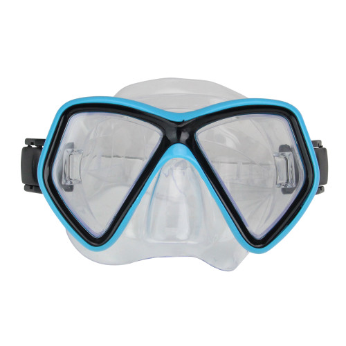 """Aqua Blue and Black Monaco Recreational Swim Mask With Adjustable Straps Ages 10 and up 6.25"""" - IMAGE 1"""