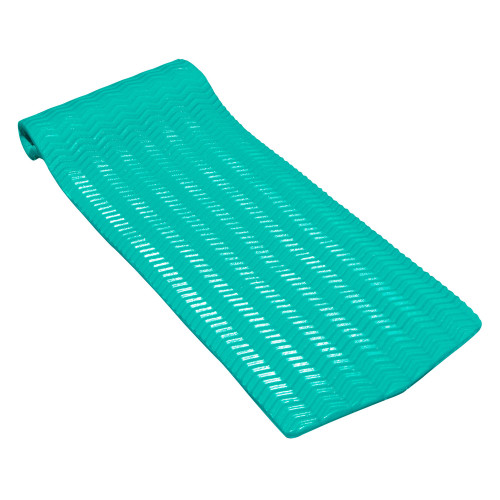 74-Inch Sofskin Teal Green Rippled Floating Swimming Pool Mattress - IMAGE 1