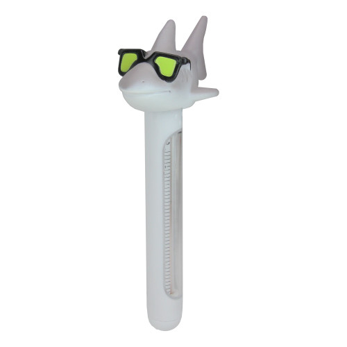"""8"""" Gray and White Shark Wearing Sunglasses Floating Swimming Pool Thermometer with Cord - IMAGE 1"""
