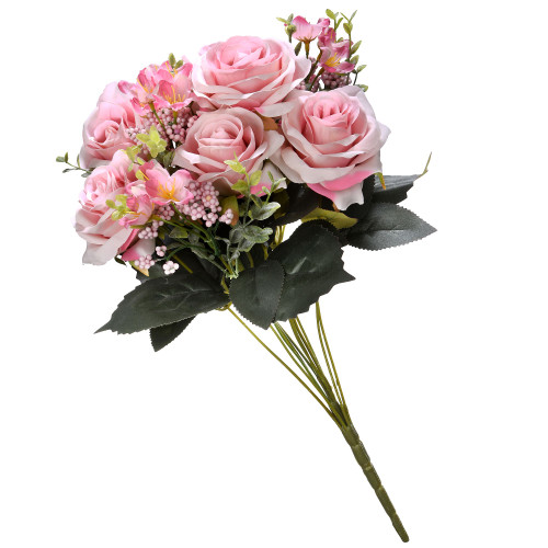 """19"""" Pink and Green Artificial Rose Flower Bouquet - IMAGE 1"""