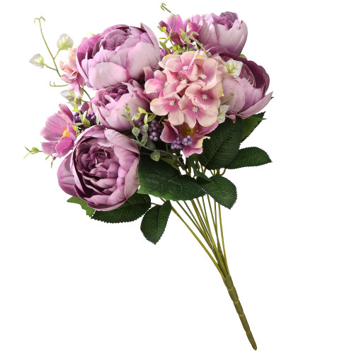 """19"""" Green and Pale Purple Artificial Rose Flower Bundle - IMAGE 1"""