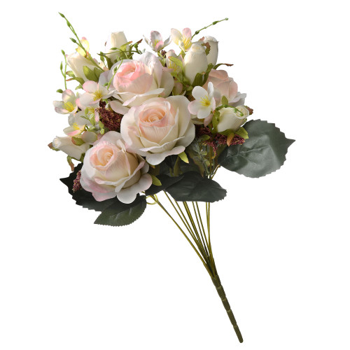"""19"""" Baby Pink Artificial Large Rose Flower Bouquet - IMAGE 1"""