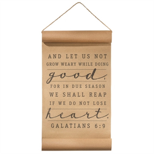 """17"""" Brown and Black Bible Quotes Rectangular Hanging Scroll - IMAGE 1"""