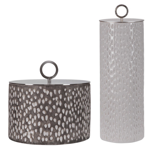 """Set of 2 White and Gray Contemporary Containers 19"""" - IMAGE 1"""
