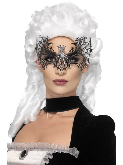 "22"" Black and Clear Widow Web Women Adult Halloween Eyemask Costume Accessory - One Size - IMAGE 1"