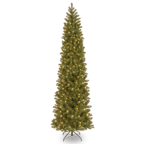 9' Pre-Lit Downswept Douglas Slim Fir Artificial Christmas Tree - Clear Lights - IMAGE 1