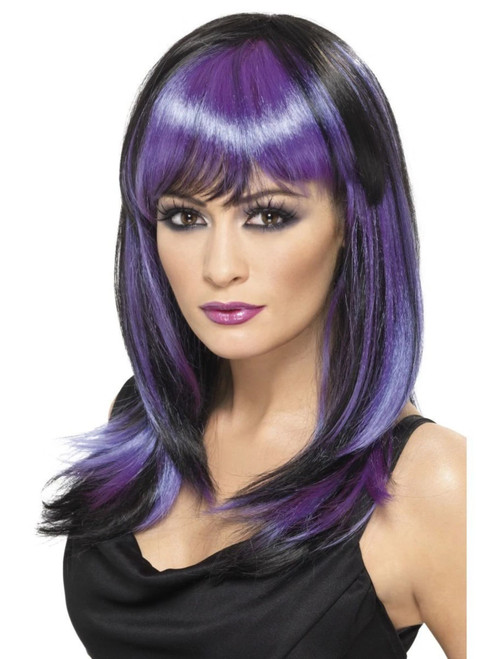 """26"""" Purple and Black Glamour Witch Women Adult Halloween Wig Costume Accessory - One Size - IMAGE 1"""