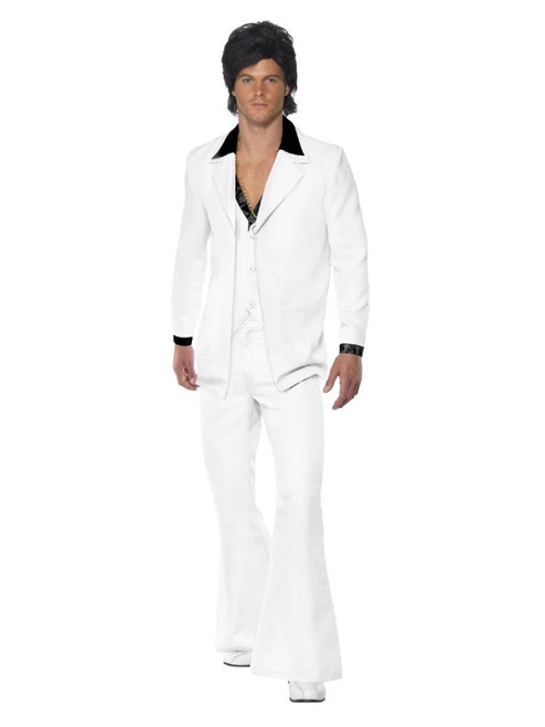 "49"" White and Black 1970's Style Suit Party Men Adult Halloween Costume - Extra Large - IMAGE 1"