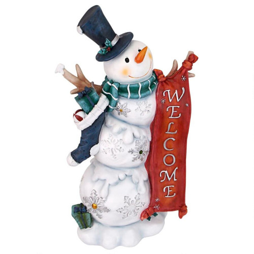 "17"" White and Red Avalanche the Welcome Snowman Outdoor Statue - IMAGE 1"