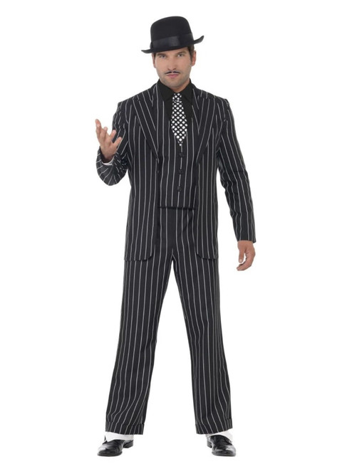 "40"" Black and White Striped Vintage Gangster Boss Men Adult Halloween Costume - XL - IMAGE 1"