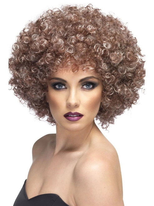 """26"""" Blond Beige and Brown Unisex Adult Halloween Curly Wig Costume Accessory - One Size - IMAGE 1"""