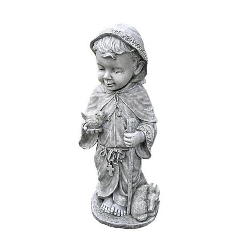 "24"" Gray Baby Saint Francis Outdoor Garden Statue - IMAGE 1"