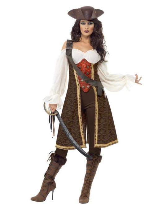 "49"" White and Brown High Seas Pirate Women Adult Halloween Costume - Medium - IMAGE 1"