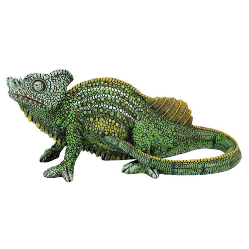 """14"""" Green and Yellow Veiled Chameleon Outdoor Garden Statue - IMAGE 1"""