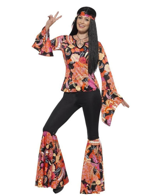 """42"""" Black and Orange 1960's Style Willow the Hippie Women Adult Halloween Costume - Large - IMAGE 1"""