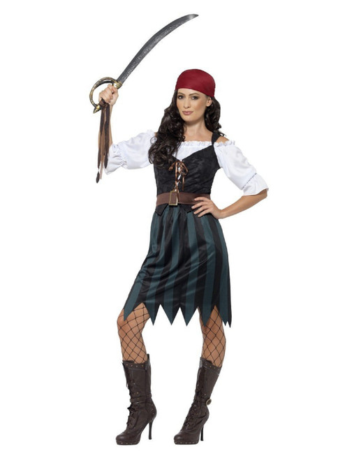 """42"""" Blue and Black Pirate Deckhand Women Adult Halloween Costume - XS - IMAGE 1"""