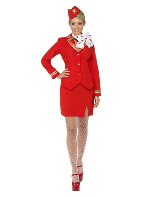 """49"""" Red and White Trolley Dolly Women Adult Halloween Costume - Small - IMAGE 1"""