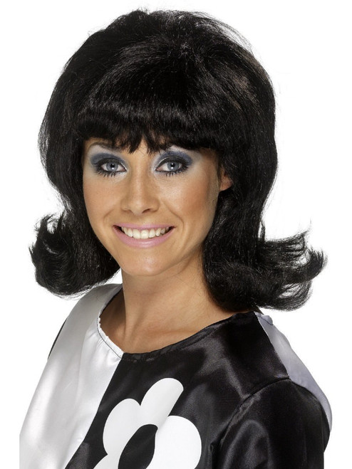 """26"""" Black 1960's Style Flick-Up Short Hairstyle Women Adult Halloween Wig Costume Accessory - One Size - IMAGE 1"""