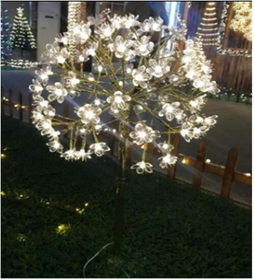 "35"" Brown and Clear Daffodil Burst LED Lights - Warm White - IMAGE 1"